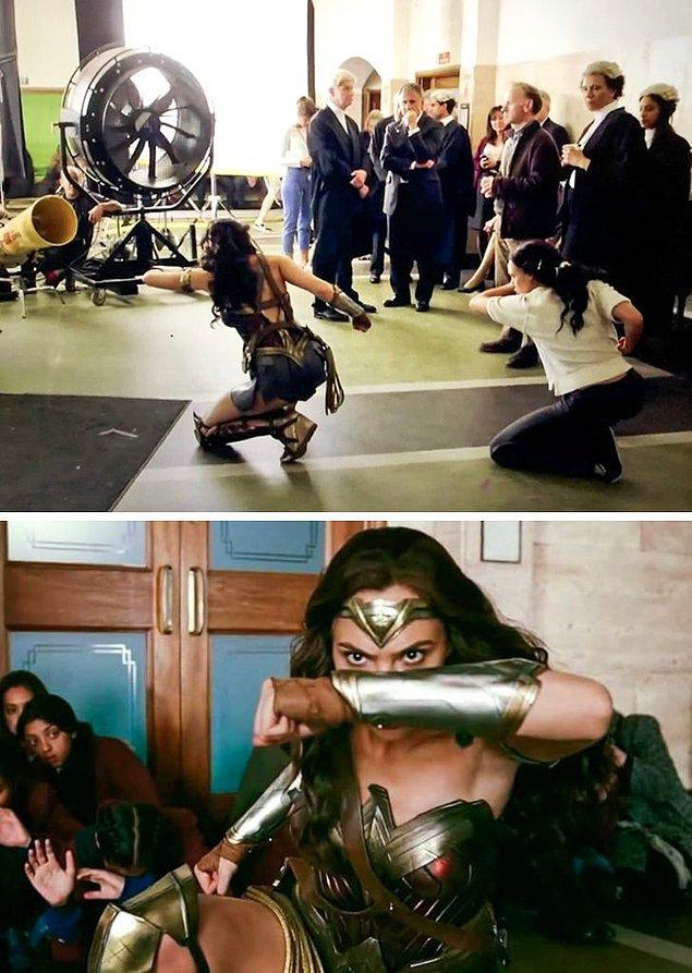 1. Justice League filmi için bir aksiyon sahnesi çeken Wonder Woman rolündeki Gal Gadot.