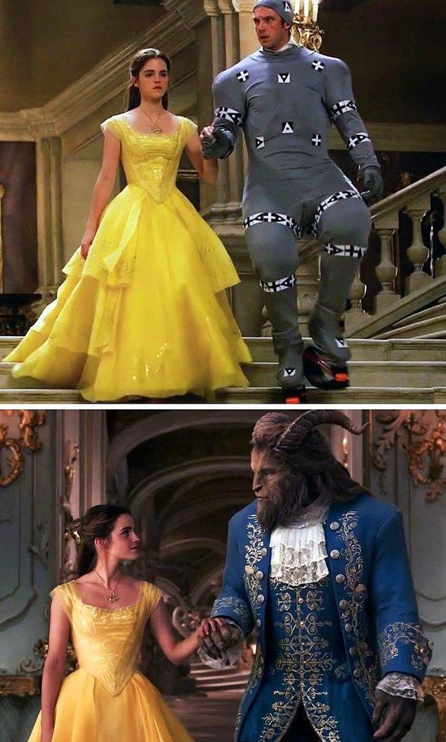 4. Beauty and the Beast filmine özel efektler eklenmeden önce ve eklendikten sonra.