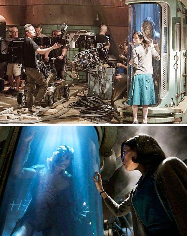 15. Filmin en güzel sahnelerinden birini çeken The Shape of Water ekibi.