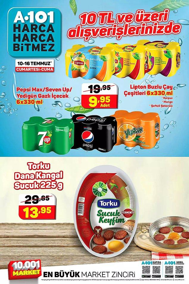 10 TL ve üzeri alışverişlerinizde 6'lı kutu içecek çeşitleri ya da 225 g Torku kangal sucuk indirimli.