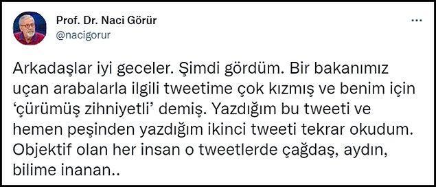 Prof. Dr. Görür, Varank'a Twitter'dan yanıt verdi 👇