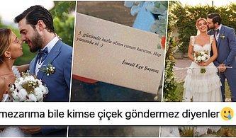 İsmail Ege Şaşmaz'ın Eşi Hande Ünsal'a Evliliklerinin 5. Gününe Özel Çiçek Göndermesine Gelen Komik Tepkiler