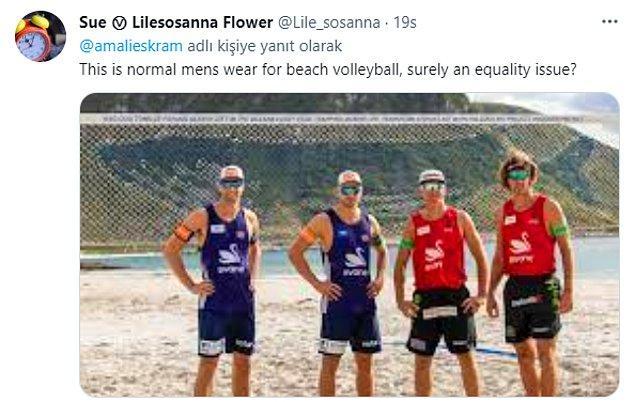 """""""Plaj voleybolu oynayan erkeklerin formaları bu şekilde, bu kesinlikle bir eşitlik sorunu."""""""