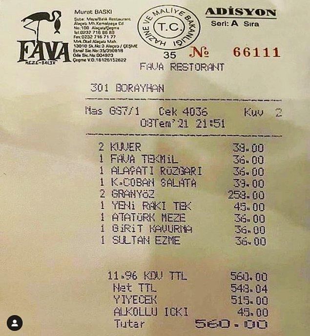Burası da Alaçatı Fava Restoran. Fiyatları abartı değil ancak kuver için kişi başı 19 TL olarak belirlenmiş.