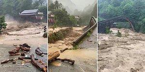 Arhavi'deki Taşkında Beton Köprü Sulara Gömüldü, Yüzlerce Yıllık Köprüler Ayakta Kaldı