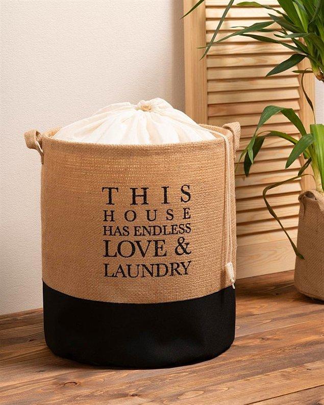 10. Evinizin minimal stiline uyum sağlayacak, jüt çamaşır sepeti için;