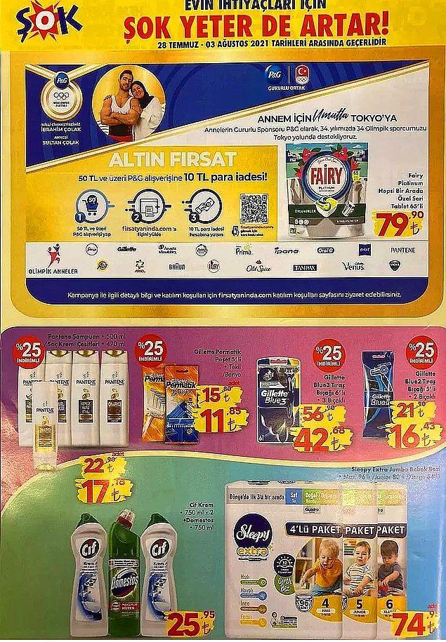 50 TL ve üzeri P&G ürünü alışverişlerinizde 10 TL iade fırsatı var.