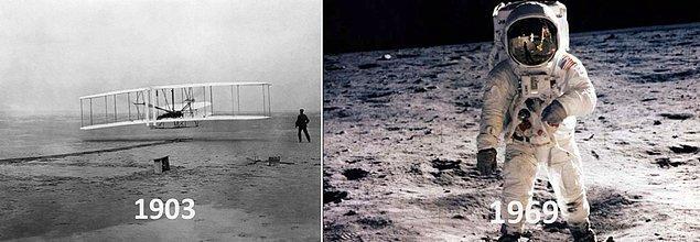 30. İlk motorlu uçuş ile aya iniş arasında sadece 66 yıl vardı. Wright Kardeşler, 1903'te ilk kez bir uçağı başarıyla uçurdular; 1969'da Neil Armstrong, aya ilk ayak basan insan oldu.