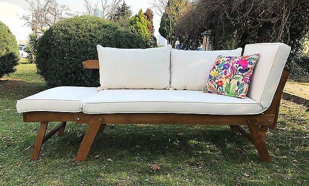 20. Kollarının açılabilme özelliğiyle büyüyebilen bir bahçe ya da balkon koltuğu...