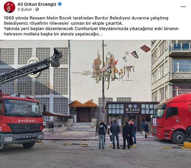 Belediye Başkanı Ercengiz, eserin rölyefinin rölevesinin çıkartıldığını paylaştı.