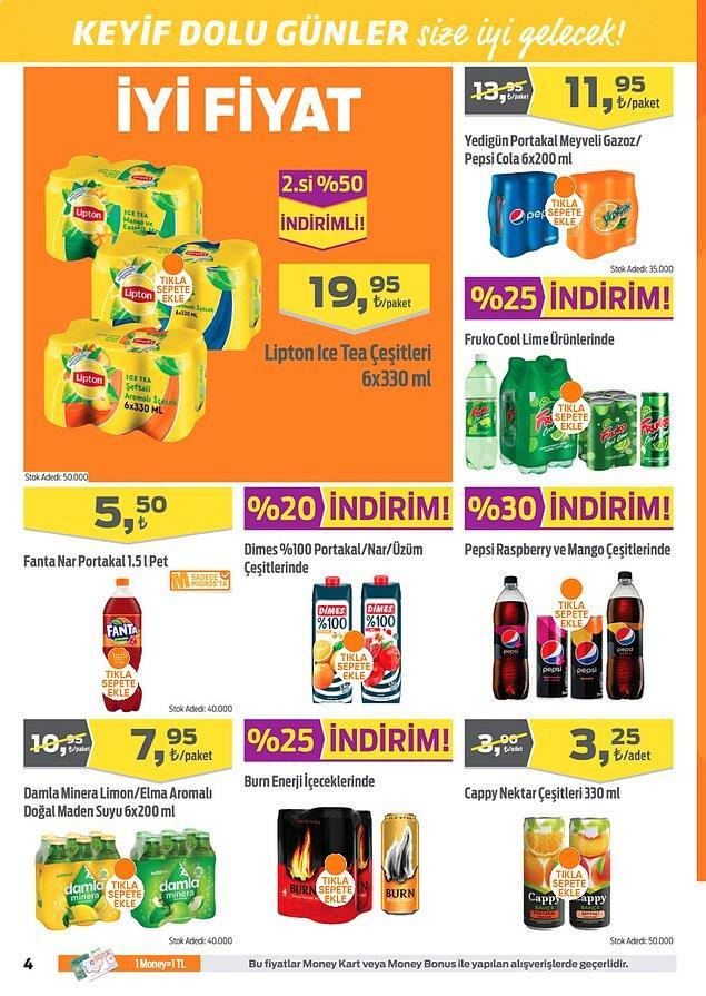 Dimes %100 Portakal/Nar/Üzüm Suyu (1 L) %20 indirimli.