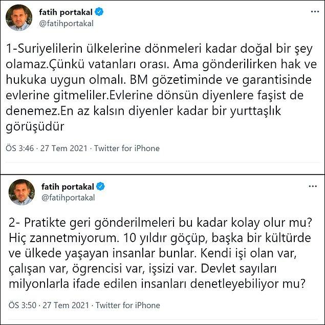 Fatih Portakal ise bu konu hakkında uzun bir Tweet dizisi hazırlamış.