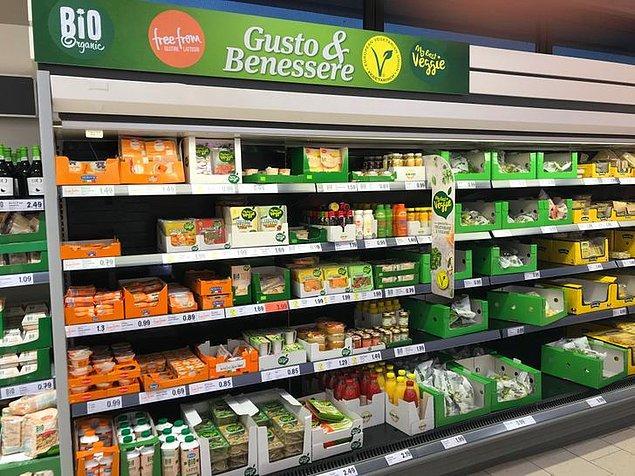 13. Bu İtalyan süpermarketinin kendine has vejetaryen ürün reyonu var.