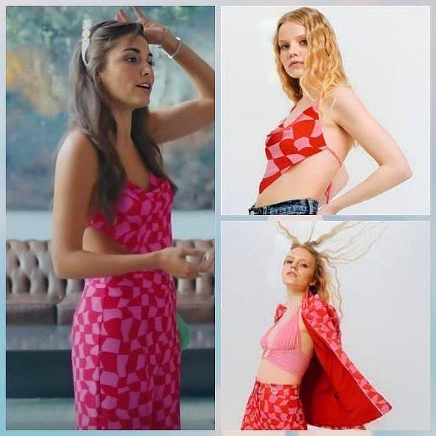 9. Sen Çal Kapımı dizisinin fragmanında Eda'nın giydiği pembe kırmızı damalı takımın markası Fineapple.