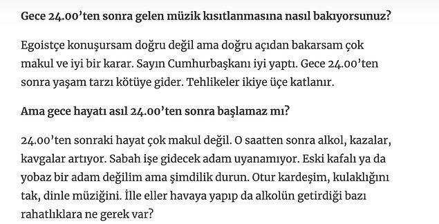 Gece yasakları için de Erdoğan'a destek verdi.