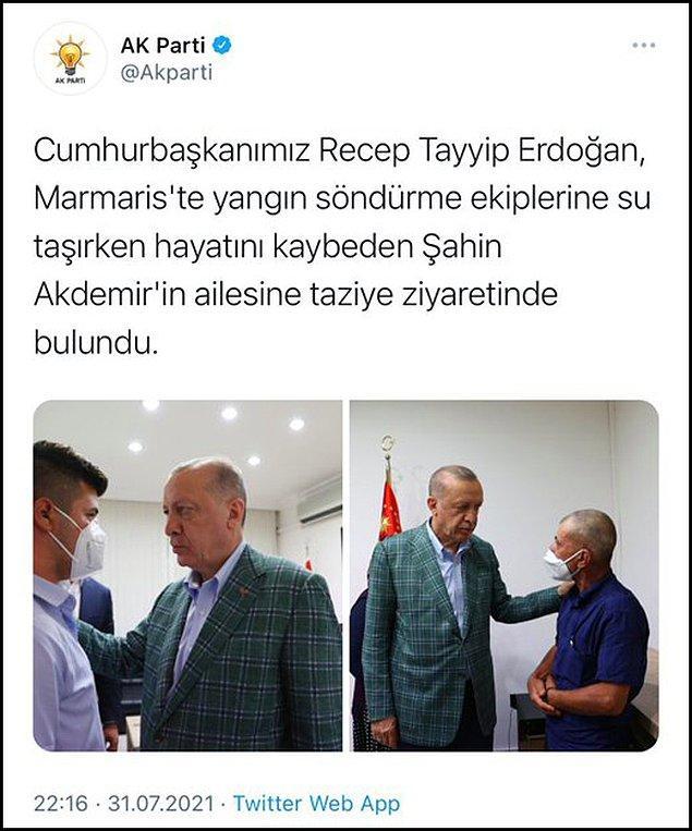 AKP'nin resmi Twitter hesabından Erdoğan'ın Akdemir ailesini ziyaret ettiğini belirten bir paylaşım yapıldı.