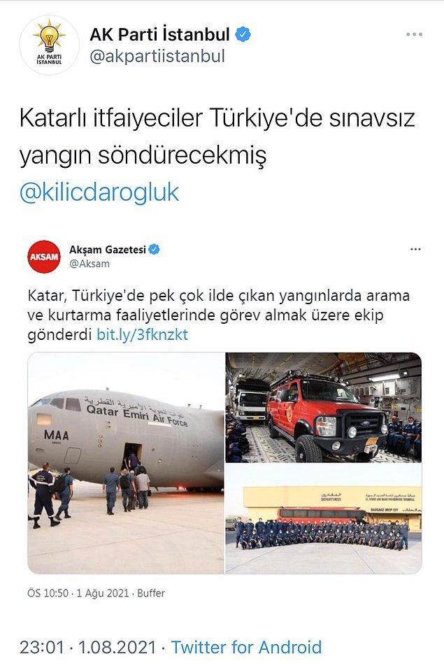 3. AKP İstanbul teşkilatının yangınların en şiddetli olduğu anda attığı bu tweet bir süre sonra silindi.