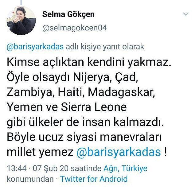 """10. Hatay'da """"çocuklarım aç"""" dedikten sonra kendini yakan vatandaş için AKP Ağrı İl Meclis Üyesi Selma Gökçen'in sildiği tweeti de böyle."""