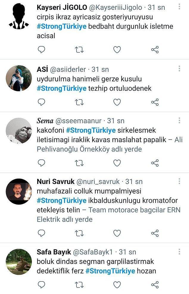#helpturkey etiketi kadar gündem olmayan #StrongTürkiye etiketine birçok bot hesaptan paylaşım yapıldığı ortaya çıktı. Bunlar da kanıtı...