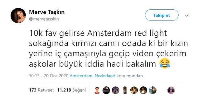 Geçtiğimiz yıl Amsterdam'daki seks müzesine giden Merve Taşkın, takipçilerine 10 bin paylaşım gelirse çeşitli fotoğraflar paylaşacağını söylemişti.