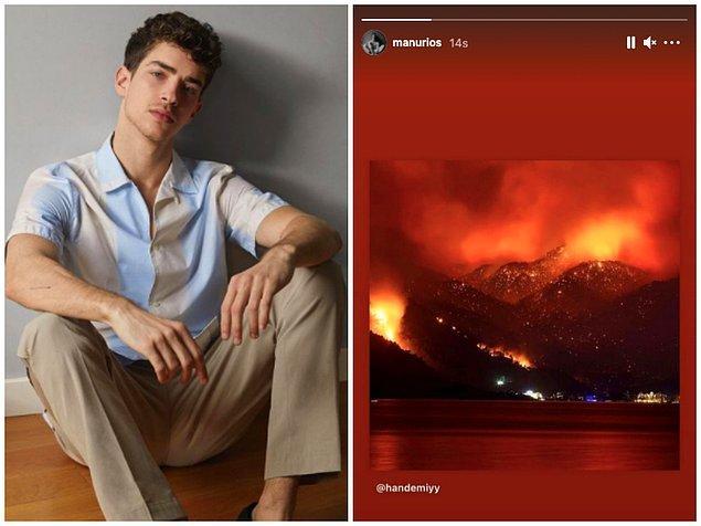 4. Elite dizisinin sevilen oyuncusu Manu Rios ise Hande Erçel'in paylaşımını hikayesinde paylaştı.