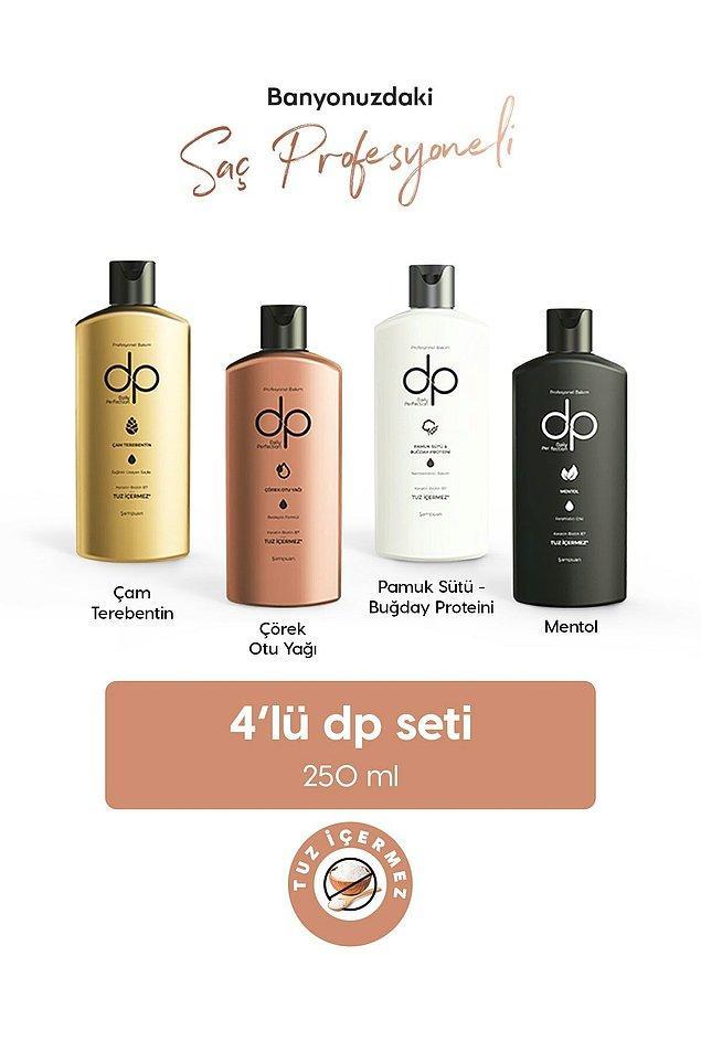 Farklı çeşitlerini deneyip saçınıza hangisinin en iyi geldiğini bulabilmeniz için DP'den harika bir tuzsuz şampuan seti.