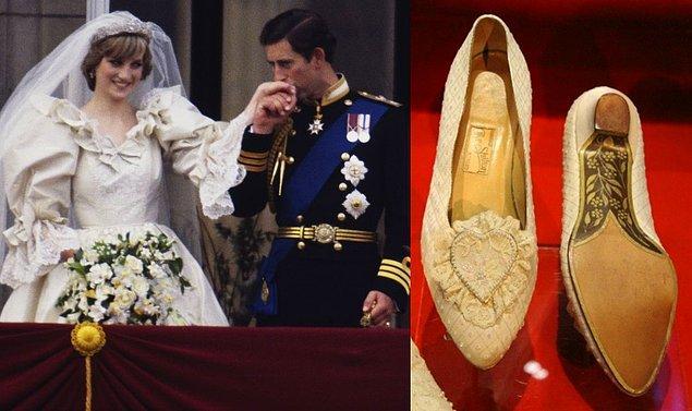 10. Prenses Diana'nın düğün töreninde giydiği ayakkabısında, müstakbel eşine yazılmış gizli bir mesaj vardı.