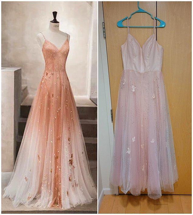 """14. """"Soldaki elbiseyi sipariş etmiştim ama bir ay gecikmeli olarak soldaki geldi."""""""