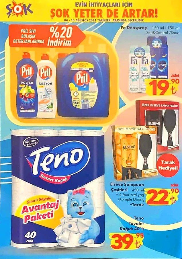 Pril sıvı bulaşık deterjanları %20 indirimli.