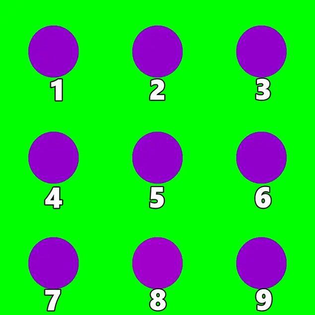 8. Son olarak, görseldeki mor dairelerden hangisinin tonu diğerlerinden farklı?