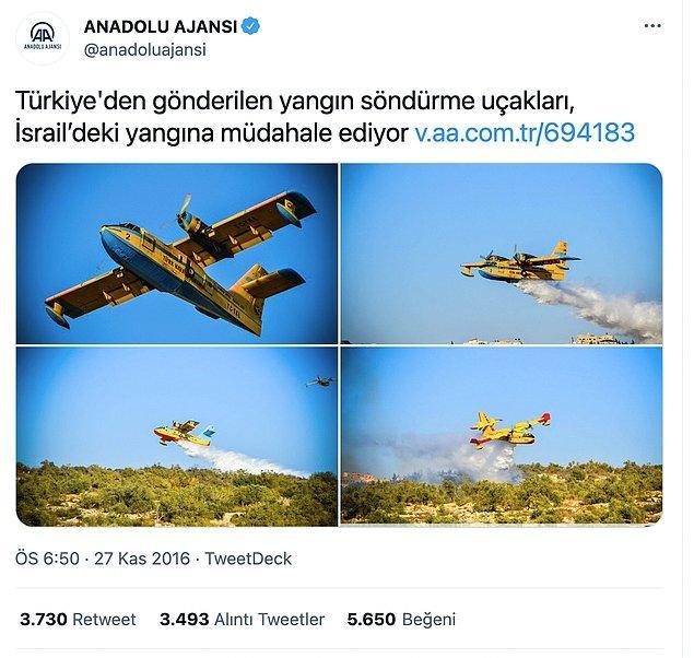 3. 'Yabancı ülkelerden yardım istemek acizliktir' düşüncesi birtakım çevrelerde hakim sürerken, 27 Kasım 2016'da atılan bu tweet ile olay gurur duyularak duyurulmuş.