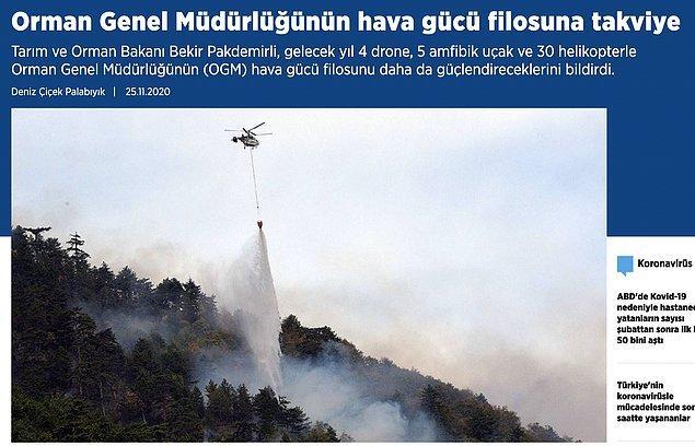 8. 2020'nin sonlarına doğru yangın söndürme filosuna yapılan takviyelerle alakalı haberler de mevcut.