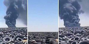 7 Milyon Lastiğin Bulunduğu Dünyanın En Büyük Lastik Çöplüğü Ateşe Verildi