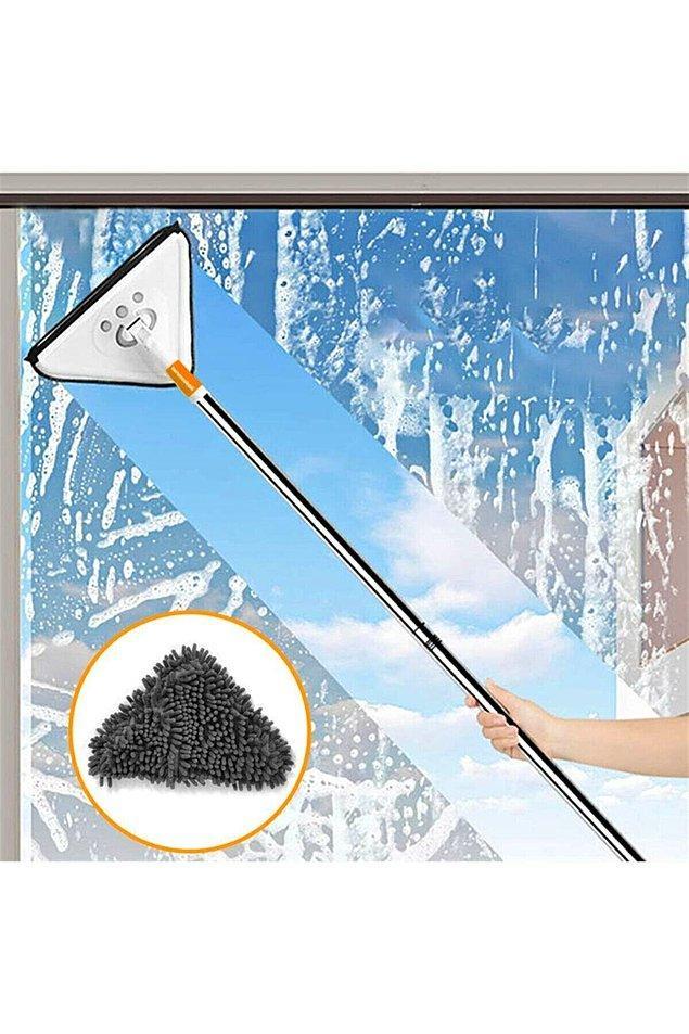 16. Bu mopun teleskopik sapı ile cam ve duvar temizliği artık çok kolay.