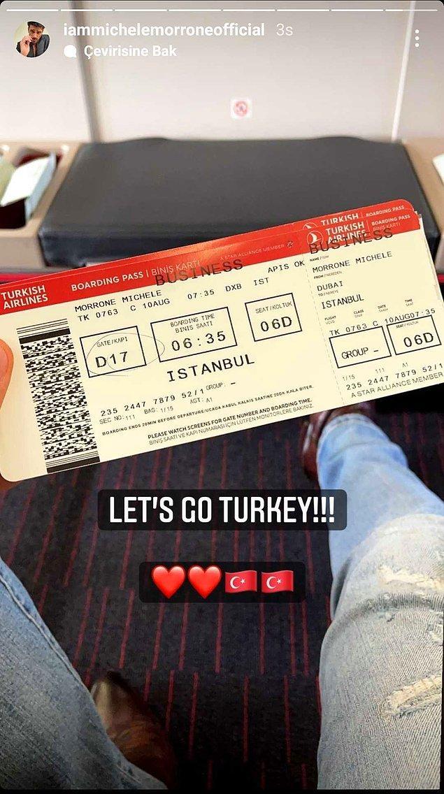 Ünlü oyuncu dün attığı bir hikaye ile takipçilerine Türkiye'ye geldiğini duyurdu.