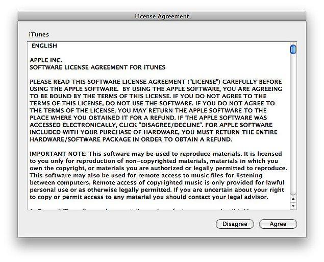 Şuna benzer bir kullanıcı sözleşmesi çıktığında olabildiğince hızlı biçimde en alta inip onaylıyoruz.