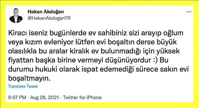 Kira artışlarından yararlanmak isteyen ev sahiplerine karşı Hakan Akdoğan Twitter'dan takipçilerini uyarmış👇🏻