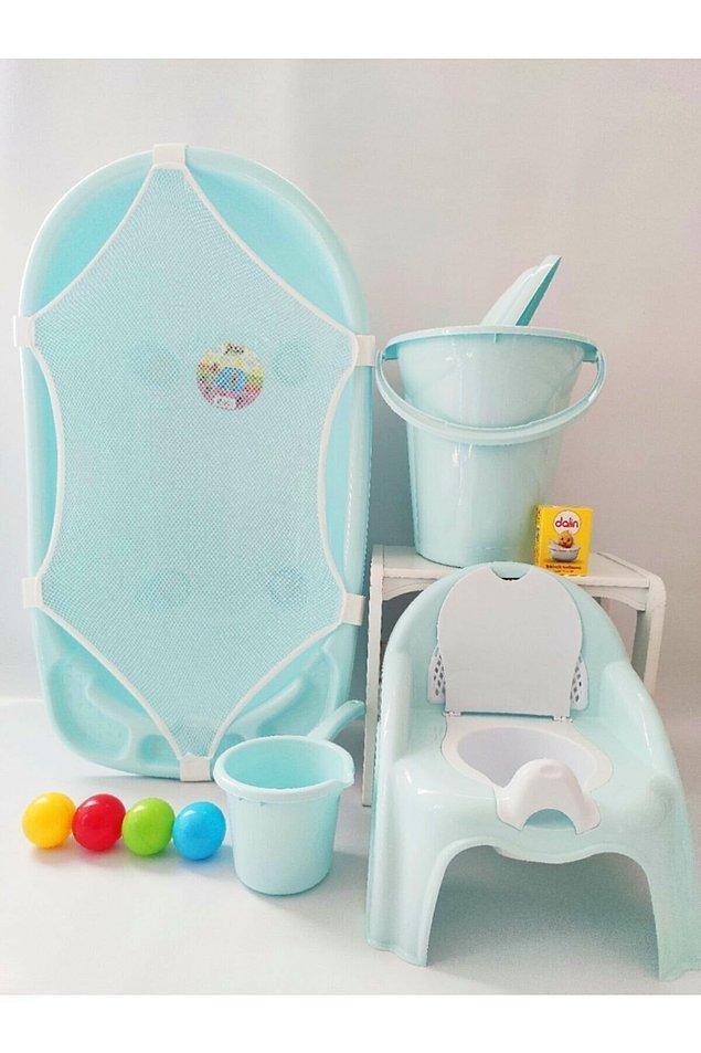 14. Bebeğinizi kimseye ihtiyaç duymadan tek başınıza güvenle yıkayabileceğiniz bir küvet seti.