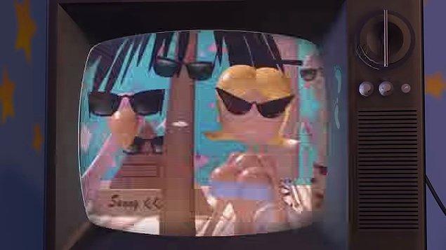 3. Toy Story (1999) filminde Hamm kanalları değiştirirken Pixar'a ait eski reklam ve animasyonları görebiliriz.