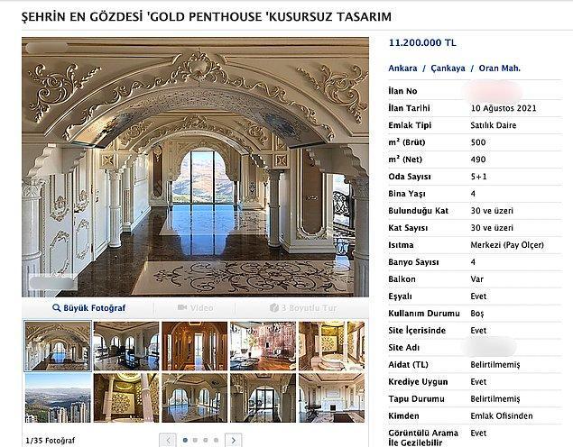 Sizleri Çankaya, Oran'daki bir çatı katına götürelim. Bu dairenin fiyatı 11. 200. 000 TL. Evimiz 5+1, 490 metrekare.