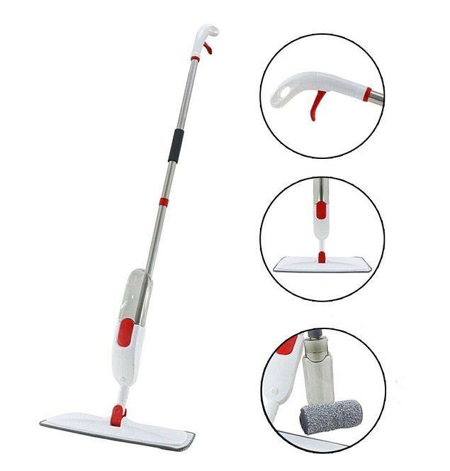 9. Vadi mikrofiber bezli dönen başlıklı su ve deterjan hazneli püskürtmeli sprey mop paspas.