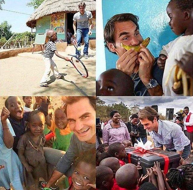 8. Roger Federer, Malawi'de 81 okul açmak için 13.5 milyon dolar harcadı. Çocuklarla geçirdiği güzel anlar görmeye değer: