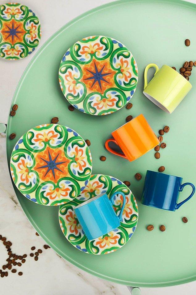 1. Renkli kahve molaları için Kütahya Porselen fincan takımlarına göz atmanız gerekiyor! 🧡💛💚💙💜