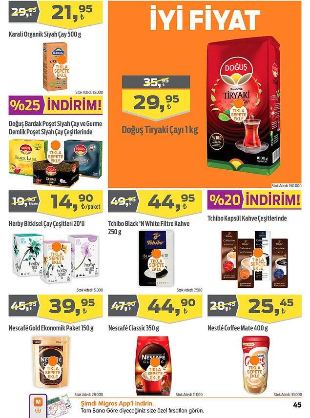 29. Tchibo kapsül kahve çeşitleri %20 indirimli.