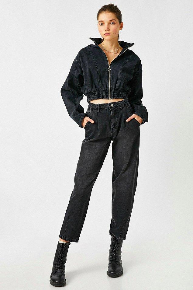 3. Koton, jean konusunda da çok başarılı. Bu siyah jean, Koton'un en beğenilen modellerinden biri.