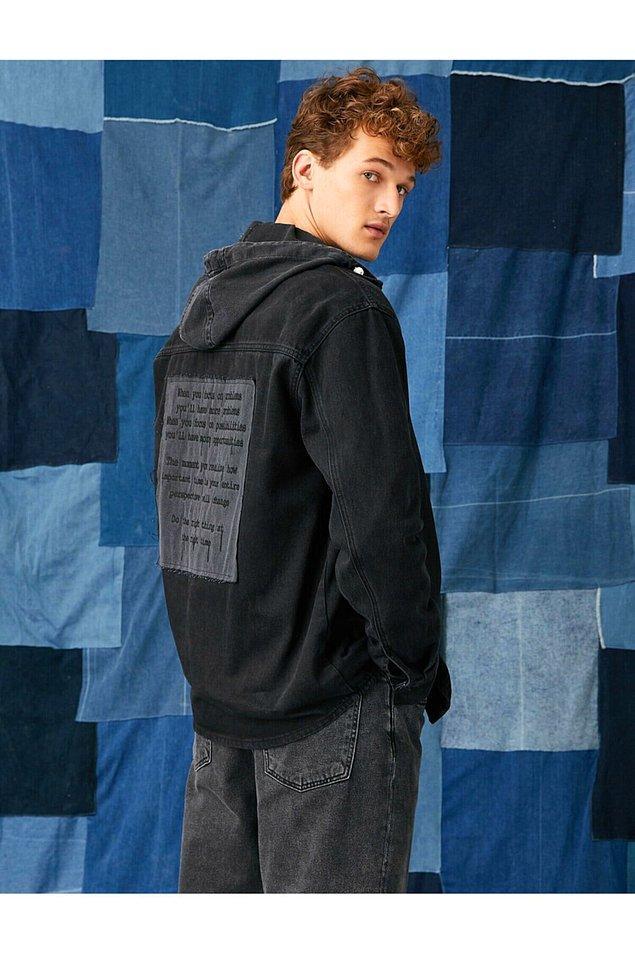 15. Sırt baskılı kot ceket, cool erkekler için...