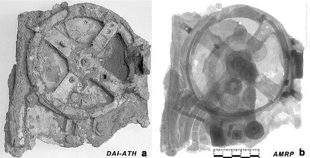 5. Yaklaşık 2 bin yıllık, dünyanın en eski analog bilgisayarı olma özelliği taşıyan Antikythera düzeneğinin içerisinde yer alan dişlilerin de görülebildiği bir X-ray çekimi: