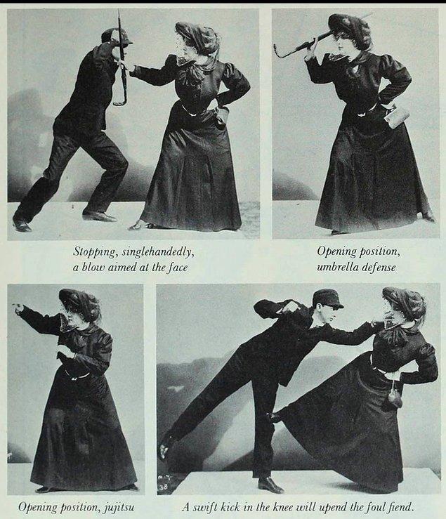 7. Sizleri Bayan Sanderson ile tanıştıralım. Kendisi Kral Edward dönemi Londra'sında kadınların kendisini şemsiye ile nasıl koruyabileceğine dair kendi tekniklerinin olduğu bir kurs veriyormuş.