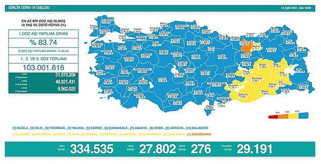 276 kişi ise korona nedeniyle hayatını kaybetti.