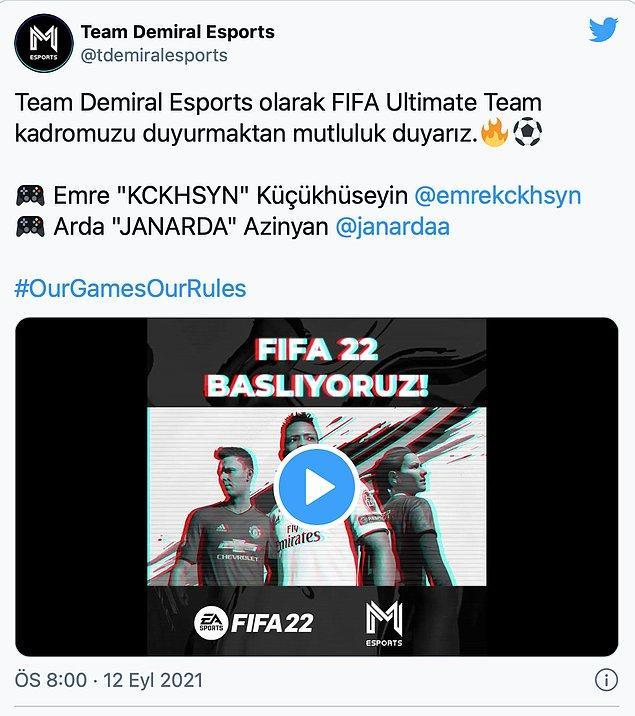 Team Demiral Esports, FIFA arenasına adım atıyor.